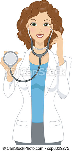 illustration of a female doctor holding a stethoscope clipart vector rh canstockphoto com beautiful female doctor clipart black female doctor clipart