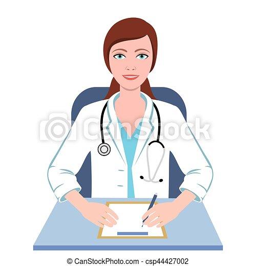 female doctor general practitioner illustration vector clipart rh canstockphoto com cartoon female doctor clipart pictures of female doctor clipart
