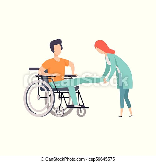 Female Doctor Helping Woman Sitting On Wheelchair Medical Rehabilitation Physical Therapy Activity Cartoon Vector