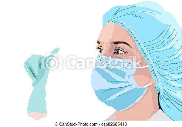 Female doctor in surgical mask, hat and gloves showing thumbs up - csp82685413