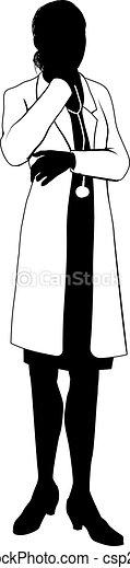 Female doctor silhouette - csp21790683