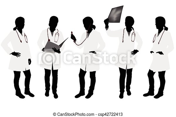 female doctor silhouettes - csp42722413