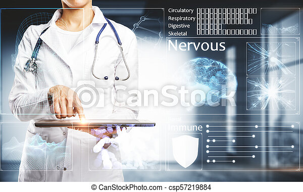 Female doctor with interface - csp57219884