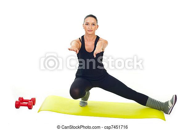 Female doing fitness exercise - csp7451716