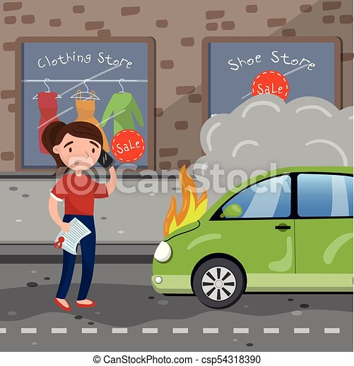 Car Insurance After Accident >> Female Driver Calling For Help After Car Accident Burning Car Car Insurance Cartoon Vector Illustration