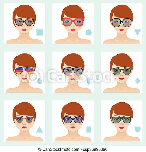 e126b8feaec Female face shapes set. nine icons. girls with blue eyes