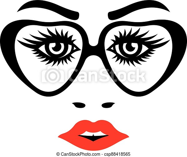 Female face with eyeglasses - csp88418565