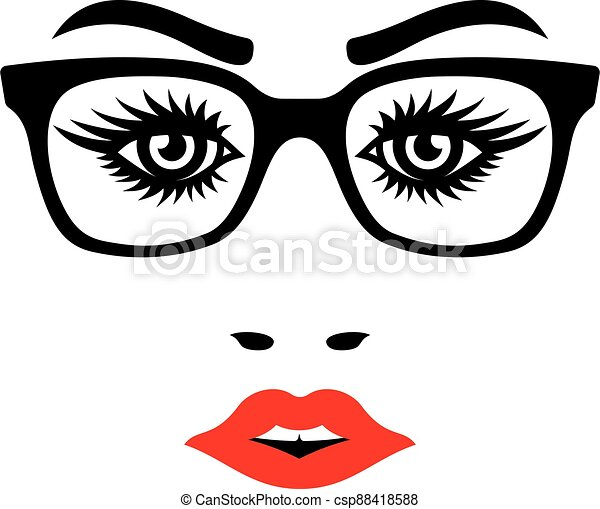 Female face with eyeglasses - csp88418588