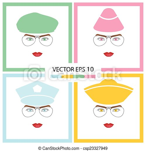 Female face with glasses - csp23327949