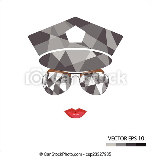 Female face with glasses - csp23327935