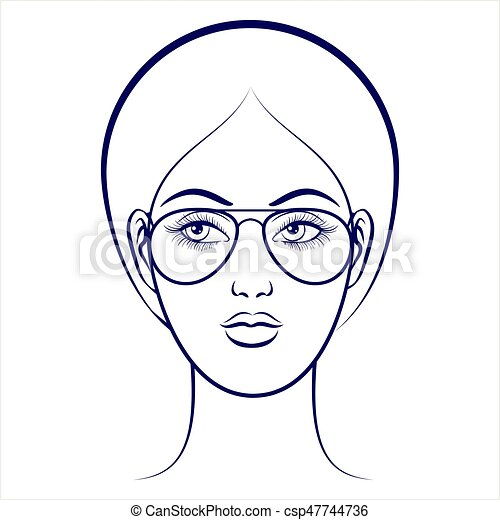 Female face with glasses - csp47744736