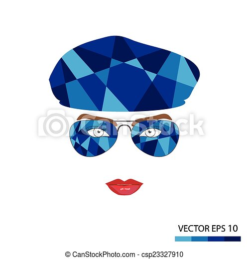 Female face with glasses - csp23327910