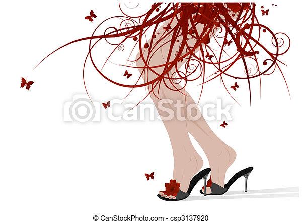 Female feet, floral skirt - csp3137920