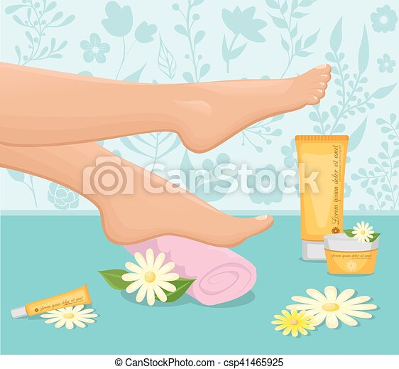Female feet spa concept. Female feet with towel conceptual ...