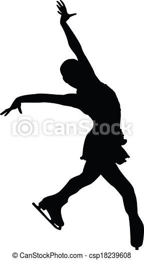 Female Figure Skater Silhouette - csp18239608