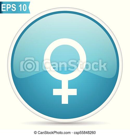 Female gender sign blue vector icon - csp55848260