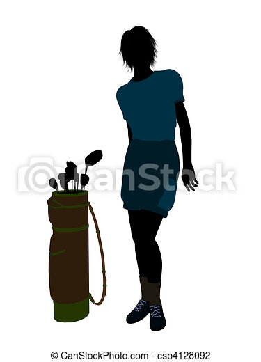 Female Golf Player Illustration Silhouette - csp4128092