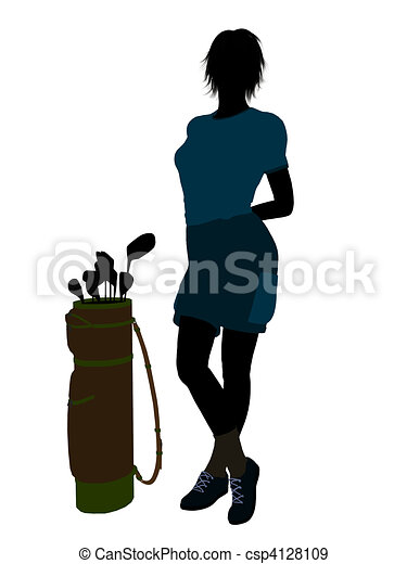 Female Golf Player Illustration Silhouette - csp4128109
