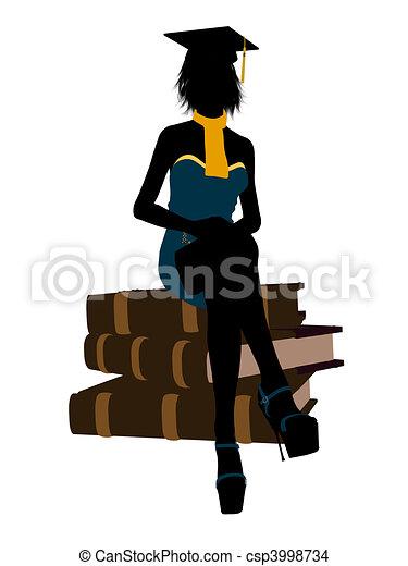 Female Graduate Illustration Silhouette - csp3998734