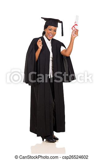 female graduate with diploma  - csp26524602