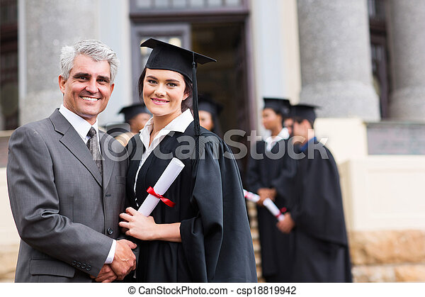 female graduate with her father - csp18819942