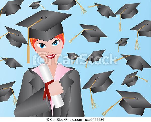 Female Graduation Illustration - csp9455536