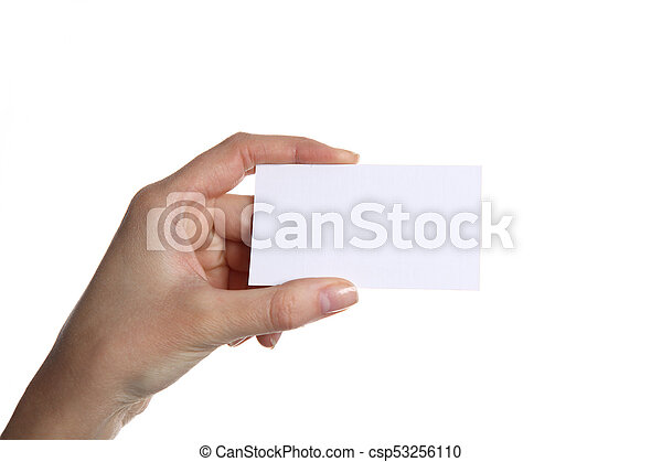 Female hand holding business card in office stock photography female hand holding business card in office csp53256110 colourmoves