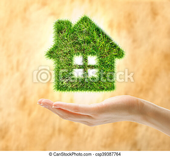 Female hand holding house made of grass - csp39387764