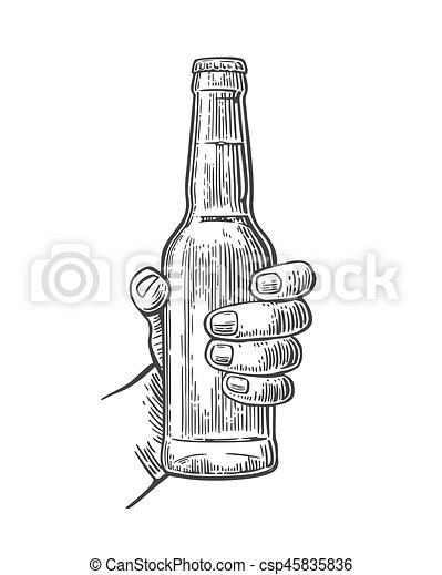 Female Hand Holding Open Bottle Beer Black Vintage Engraving Vector Illustration