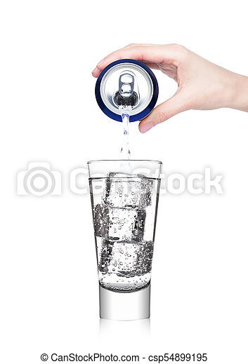 Female hand pouring sparkling water from can tin - csp54899195