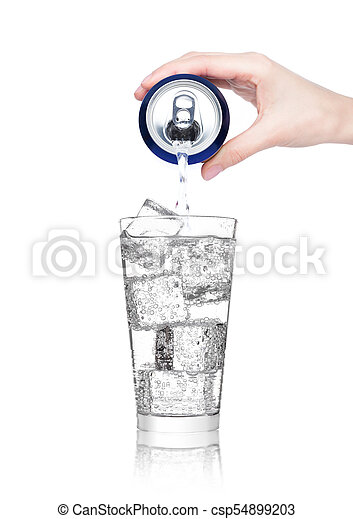 Female hand pouring sparkling water from can tin - csp54899203