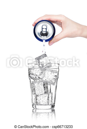 Female hand pouring sparkling water from can tin - csp66713233
