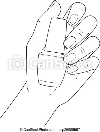Female hand with manicure holding nail polish, vector image.