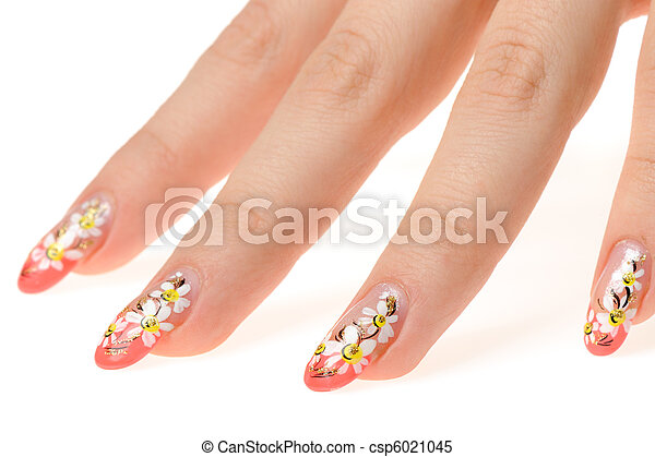 Female Hand With Nail Art Figure A Camomile It Is Isolated On A