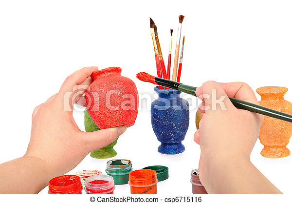 Female Hands A Brush Paint A Vase Craft Concept Isolated On Th