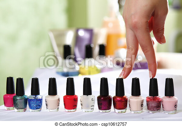 Female hands and manicure related objects - csp10612757
