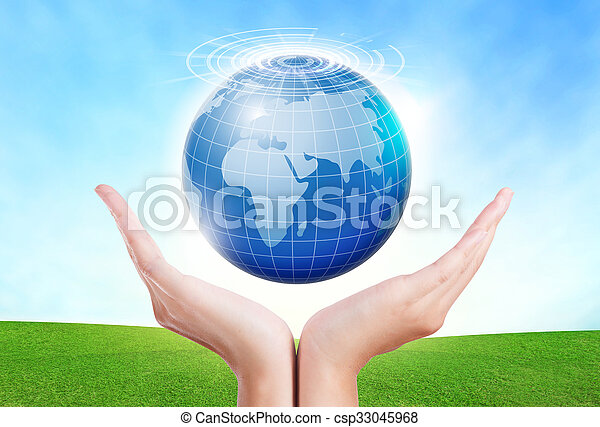 female hands save environment keep in the world blue planet