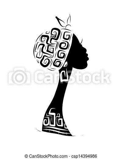 Female head silhouette for your design, ethnic ornament - csp14394986