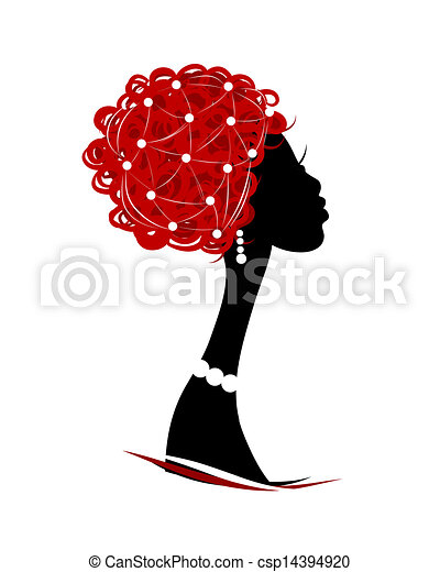Female head silhouette for your design - csp14394920