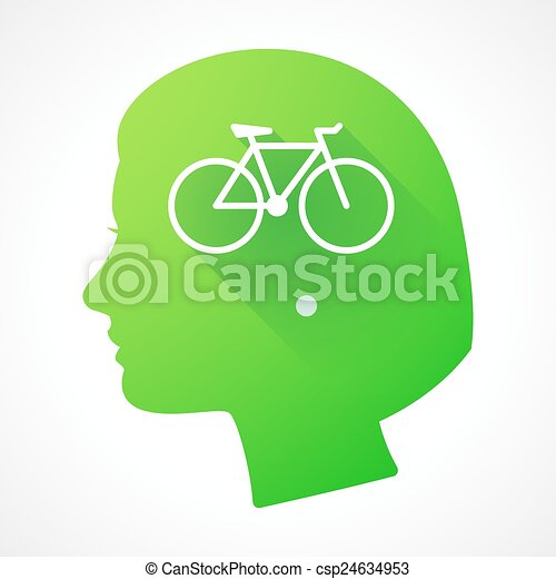 Female head silhouette icon with a bicycle - csp24634953