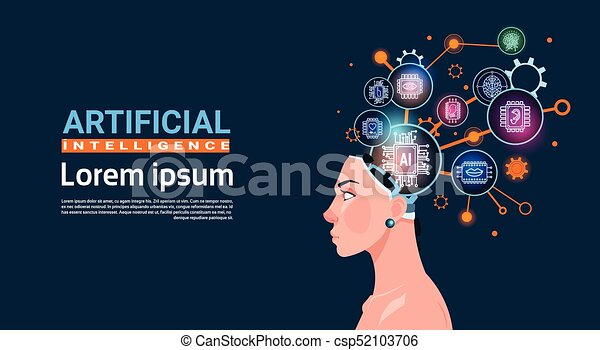 Female Head With Cyber Brain Cog Wheel And Gears Concept Of Artificial Intelligence Banner With Copy Space - csp52103706