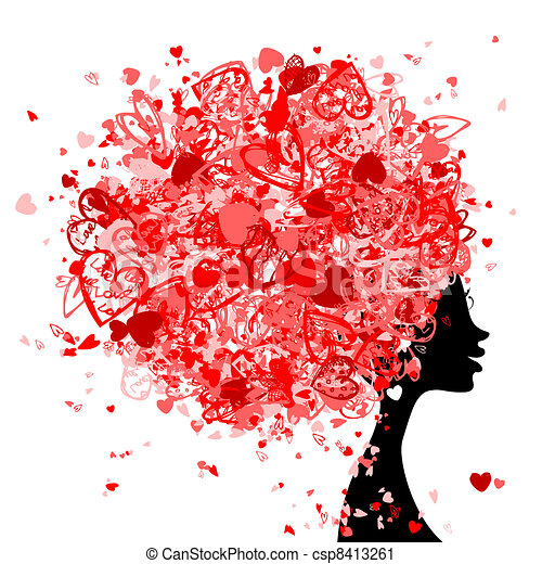 Female head with hairstyle made from tiny hearts for your design - csp8413261