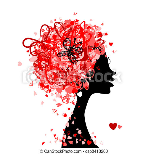 Female head with hairstyle made from tiny hearts for your design - csp8413260