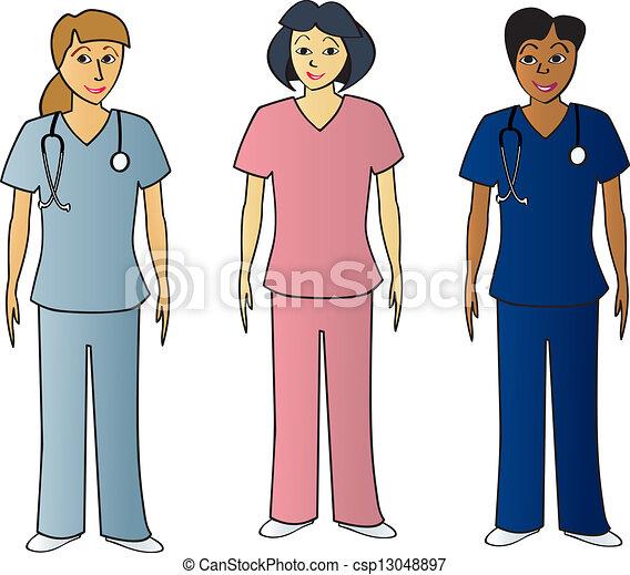 Female Health Pros in Scrubs - csp13048897
