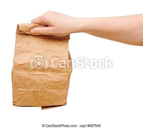 female holding a brown paper bag with contents in his hand - csp14697540