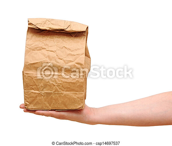 female holding a brown paper bag with contents in his hand - csp14697537