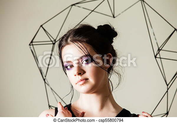 Female holding model of geometric solid - csp55800794