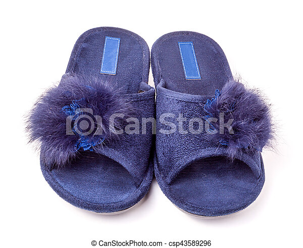 female house slippers with fur on white background - csp43589296