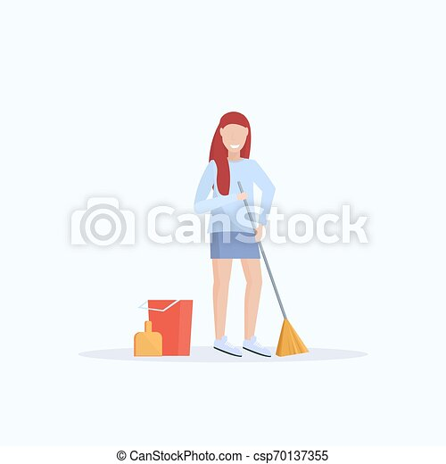 female housewife holding broom woman cleaner sweeping floor cleaning service housekeeping concept full length flat white background - csp70137355