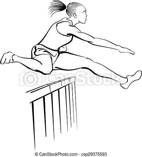 Female hurdler. Black and white illustration of a woman ...